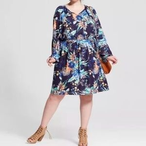 AVA & VIV floral long sleeve boho peasant dress